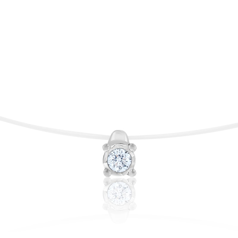 Collier Fil Nylon, Diamant & Or Blanc 18K