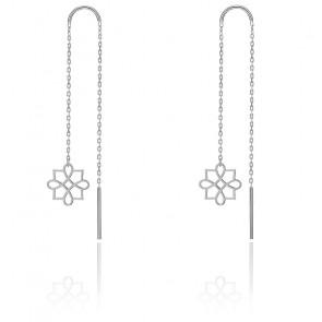 Boucles d'Oreilles pendantes Harmonie Or Blanc 9K