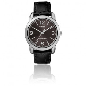 Montre Men's Black Leather Croco Strap/Black Dial TW2R86600