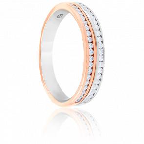 Alliance Eloïse Or Blanc & Or Rose 18K Diamantée 0,20 carat