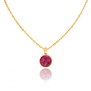 Collier Rosa Rubis & Or Jaune 18K