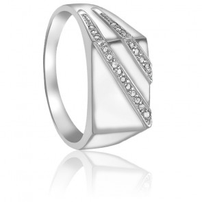 Chevalière Diamants & Or Blanc 9K