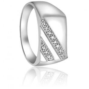 Chevalière Royale Diamants & Or Blanc 9K