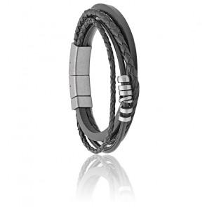 Bracelet Multi-Rangs Acier & Cuir