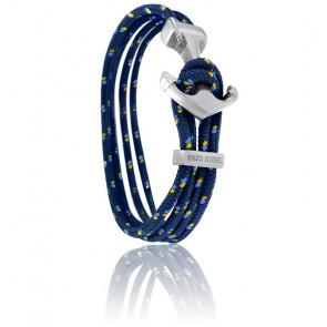 Bracelet Ancre Yacht Club Polie & Double Cordon Marine