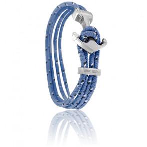 Bracelet Ancre Yacht Club Polie & Double Cordon Ciel