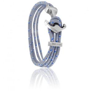 Bracelet Ancre Yacht Club Polie & Double Cordon Gris