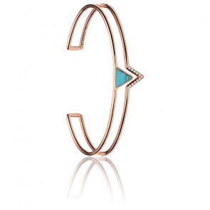 Bracelet Manchette Turquoise & Acier Doré Rose