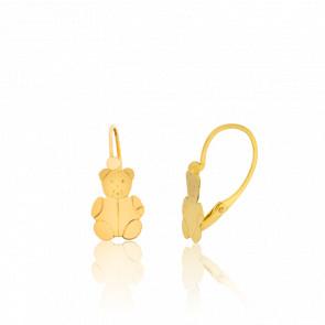 Boucles d'oreilles dormeuses oursons or jaune 18K