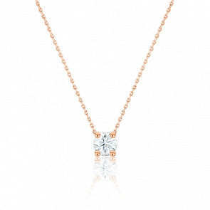 Collier Diamant Solitaire I/SI & or rose 18K