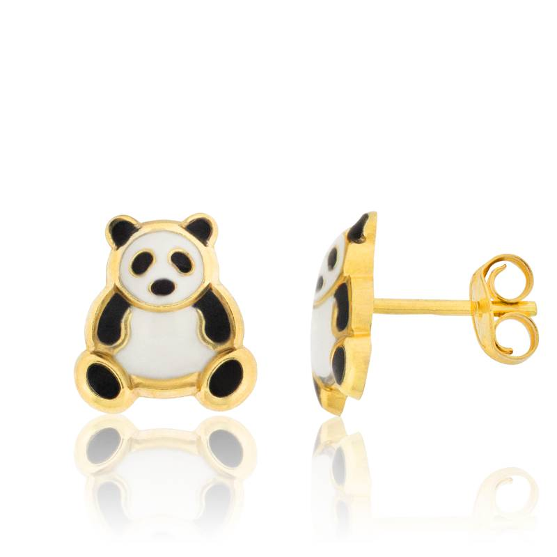 boucles d 39 oreilles panda en or jaune 18k bambins ocarat. Black Bedroom Furniture Sets. Home Design Ideas