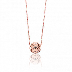 Collier Mini Dentelle Vermeil Or rose & Diamant Noir
