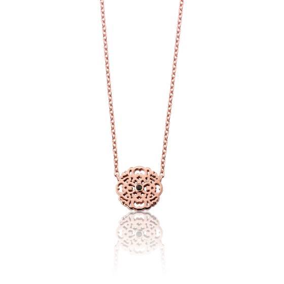 Favori Collier Mini Dentelle en vermeil rose et diamant noir - Ocarat TA77