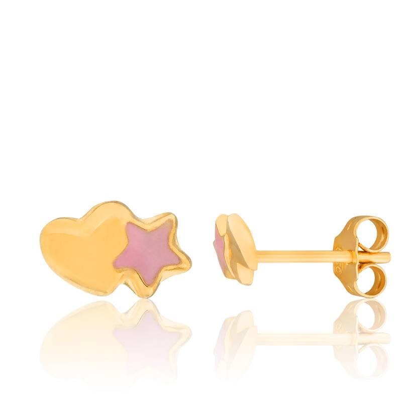 boucles d 39 oreilles coeur toil en or jaune bambins ocarat. Black Bedroom Furniture Sets. Home Design Ideas