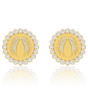 Boucles d'oreilles clips Lucky Goddess blanc, métal doré