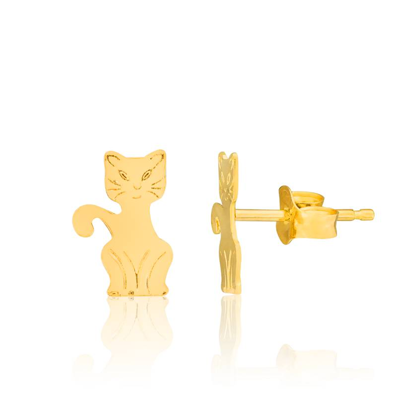 boucles d 39 oreilles chats en or jaune 18k bambins ocarat. Black Bedroom Furniture Sets. Home Design Ideas