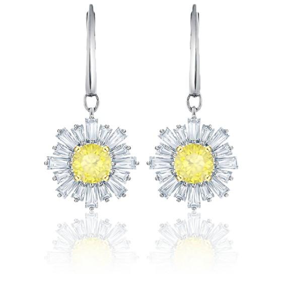 Boucles d'oreilles pendantes Sunshine blanc, métal rhodié & cristaux jaune