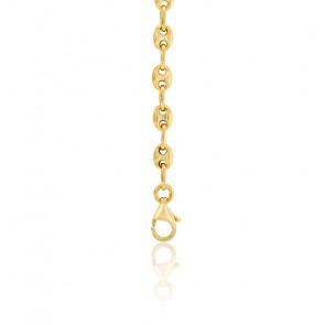 Bracelet Grain de Café Creux, Or Jaune 9K, longueur 16 cm