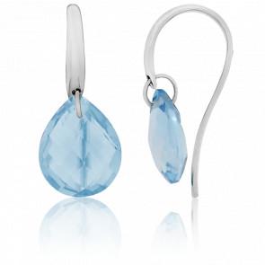 Boucles d'oreilles Topazes Bleues & Or Blanc 18K - Bellon