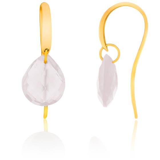 boucles d 39 oreilles quartz rose poire et or jaune bellon ocarat. Black Bedroom Furniture Sets. Home Design Ideas