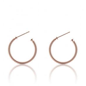 Boucles d'oreilles Rope Hoop IP, plaqué or rose