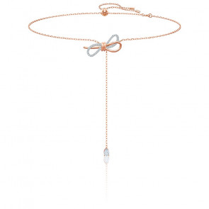Collier en Y Lifelong Bow Blanc & Métal Doré Rose