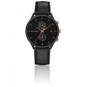 Montre Chrono Line Black Sunray IP Noir / Or Rose PH-C-B-BSR-2M