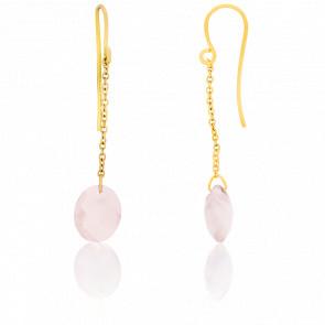 Boucles d'oreilles Quartz Rose Ovale & Or Jaune 18K - Bellon