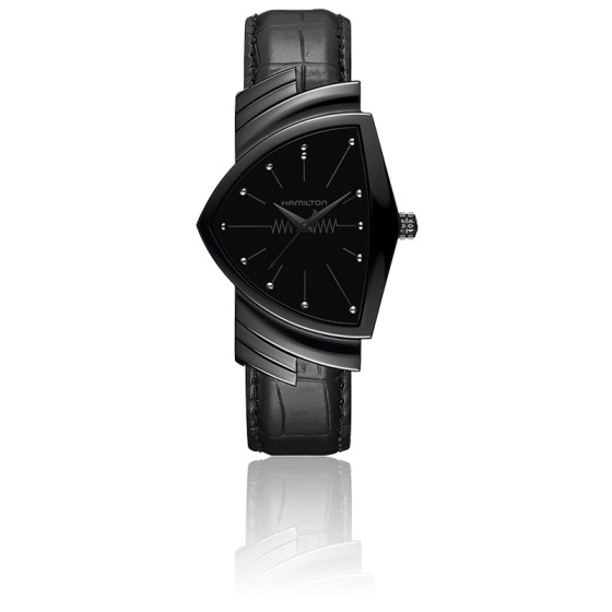 Montre Ventura L Black PVD Quartz H24401731