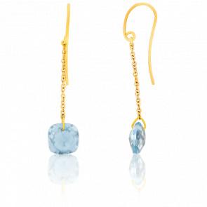 Boucles d'oreilles Topaze Bleue Coussin & Or Jaune 18K
