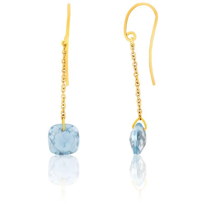 boucles d 39 oreilles topaze bleue coussin et or jaune. Black Bedroom Furniture Sets. Home Design Ideas
