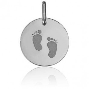 Médaille Petits Pieds Or Blanc