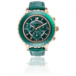 Montre Octea Lux Chrono Bracelet Cuir Vert Or Rose 5452498