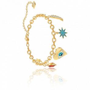 Bracelet Lucky Goddess Charms Multicolore & Métal Doré