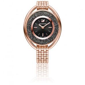 Montre Crystalline Ovale Bracelet Métal Noir Or Rose 5480507