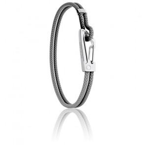 Bracelet Tressé Gris, Cuir & Acier MM