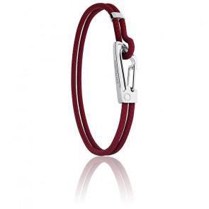 Bracelet Tressé Rouge, Cuir & Acier MM