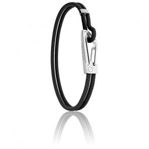 Bracelet Tressé Noir, Cuir & Acier MM