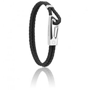 Bracelet Star Tressé Noir en Cuir, Acier & Laque Noire