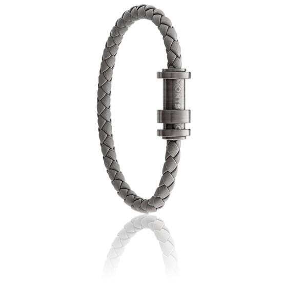 Bracelet Meisterstück Tressé Gris en Cuir & Acier