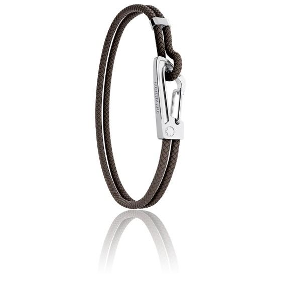 Bracelet 1926 Heritage Tressé Marron, Cuir & Acier