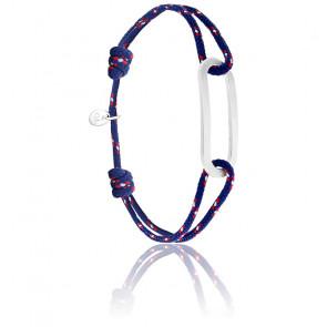 Bracelet figaro navy & argent brossé
