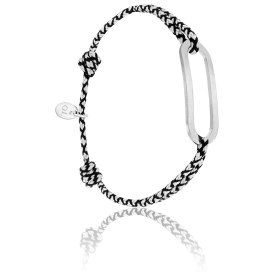 Bracelet figaro chrome & argent brossé