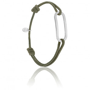 Bracelet figaro kaki & argent brossé