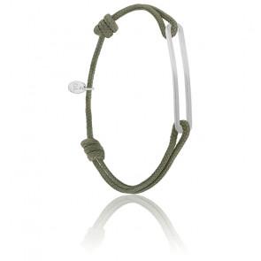 Bracelet figaro slim XL kaki & argent brossé