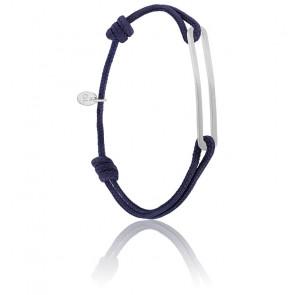 Bracelet figaro slim XL encre & argent brossé