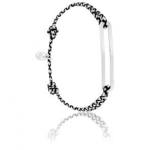 Bracelet figaro slim XL chrome & argent brossé