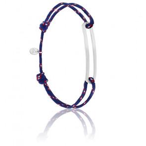 Bracelet figaro slim XL navy & argent brossé