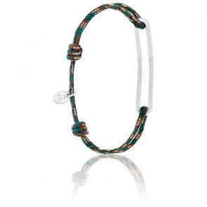 Bracelet figaro slim XL armée & argent brossé
