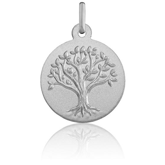 Médaille Arbre de Vie Relief Or Blanc 18K